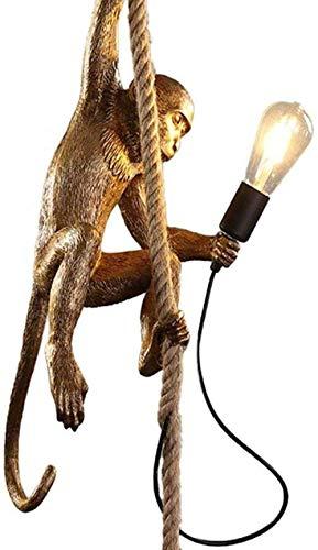 Monkey Lamp Schwarz-Hängend Harz Affe Tischlampe Wandlampe Kronleuchter Stehlampe Schwarz Harz Material E27 kreative Land Retro Kronleuchter Bar Cafe Restaurant Hanf Kronleuchter Gold