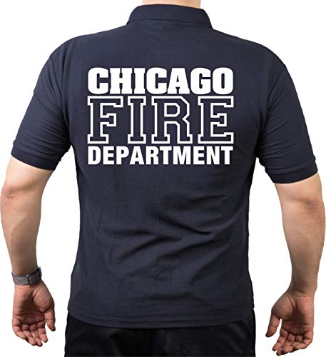 Feuer1 Polo Chicago Fire DEPT avec croix malte à l'avant et inscription à l'arrière