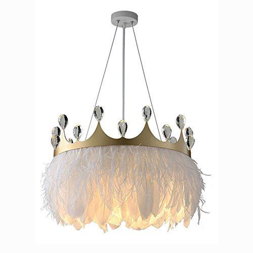 American E27 Corona Metal Cristal Pluma Lámpara Dormitorio Araña Restaurante Decoración Creativa Lámpara Nórdico Simple Luz Lujo Moderno Niños Cálido Y Romántico Lámparas