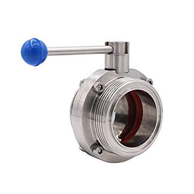 Dernord Butterfly Valve with Pull Handle Stainless Steel 304 Sanitary Tri Clamp Clover (4 inch NPT Threaded Type) from DERNORD