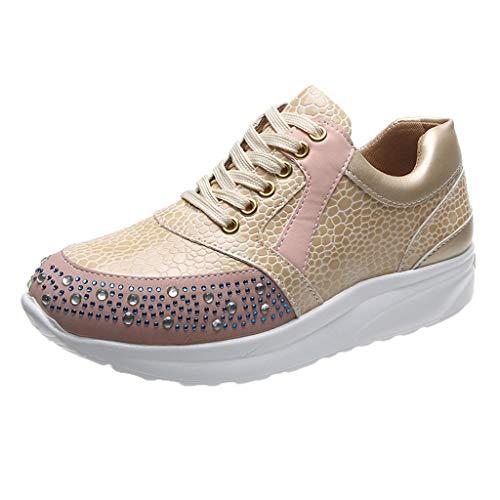 Zapatos Deportivos Mujer Altos Brillantes Cuña Moda de Cuero con Cordones Suela Suave Zapatillas de Deporte para Correr Zapatos Casuales Baratos 36-42EU 0201