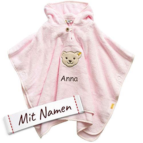 Steiff Poncho bestickt mit Namen für Baby & Kinder, Rosa, Mädchen Badetuch, Bade-Poncho, Kapuzenbadetuch, Handtuch mit Kapuze, Mädchen Bademantel, 100% Baumwolle