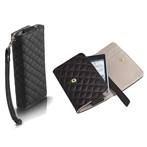 Handyschale24 Wallet Hülle für Wiko Stairway Handytasche Schwarz Schutzhülle Tasche Slim Cover Etui Portemonnaie Bookcase Etui