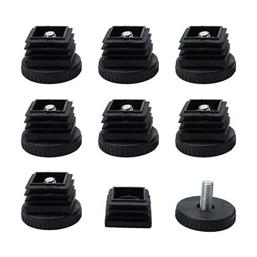 YeVhear - Set di 8 piedini di livellamento, 40 x 40 mm, kit di inserimento di tubi quadrati per mobili, livellamento regolabile, per gambe del tavolo del divano