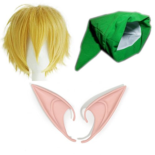 thematys Komplett-Set The Legend of Zelda Mütze + Perrücke + Elfen Ohren - Link Kostüm für Erwachsene & Kinder - perfekt für Fasching, Karneval & Cosplay - Damen Herren