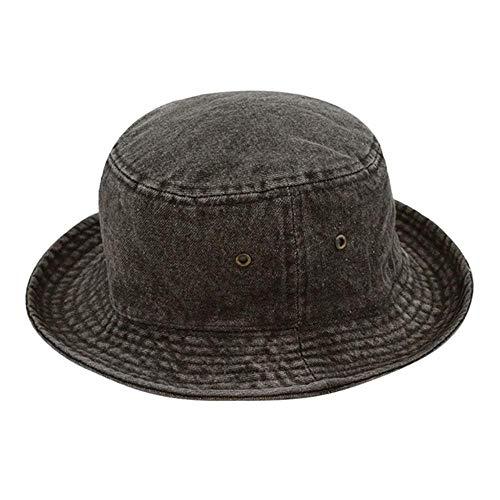 liqun The Hat Depot Washed Cotton Denim Eimerhut Fischerhut 1St. Eimerkappe Damenmode Beach Chapeau Femme Blumenhut * P, Schwarz, L-XL