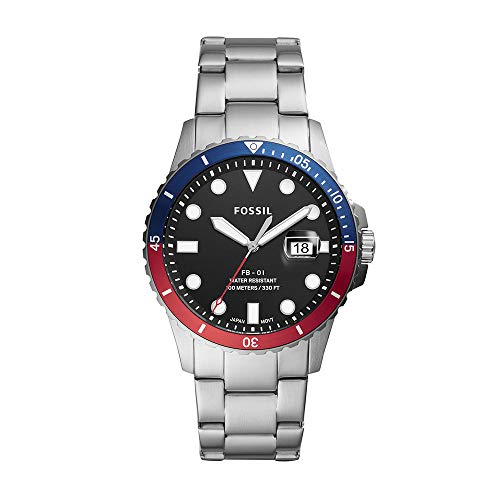 Fossil Men's FB-01 Quartz Stainless Three-Hand Watch, Color: Silver/Blue/Red (Model: FS5657)