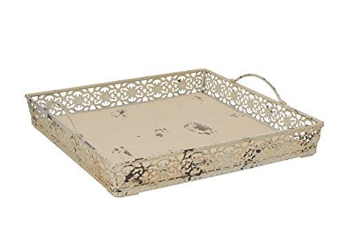 Grace Home Vintage Antik Design Deko Metall Serviertablett mit 2Griffen beige