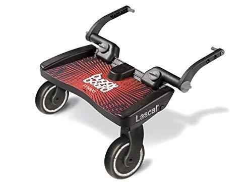 Lascal BuggyBoard Maxi, Kinderbuggy Trittbrett mit großer Stehfläche, Kinderwagen Zubehör für Kinder von 2-6 Jahren (22 kg), kompatibel mit fast jedem Buggy und Kinderwagen, rot