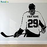 Tianpengyuanshuai Calcomanía de Pared Deportiva para Damas, Elija su Nombre y número, Regalos Personalizados de decoración del hogar de Hockey para niñas 40x54cm