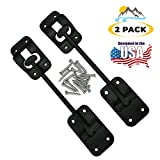 Camp'N T-Style 6' Door Latch-Holder-Catch with Hardware for RV, Trailer, Camper, Motor Home, Cargo Trailer - OEM Replacement (Black 2-Piece)