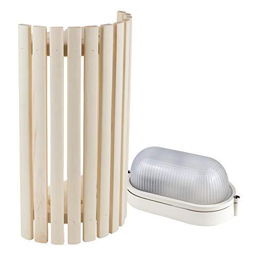 Sauna Beleuchtung Set Lampenschirm Sawo 914-VA aus Espe mit E27 IP54 Saunalampe und 5m Silikonkabel SiHF