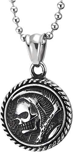 Cráneo de Bata con Capucha de Acero Inoxidable para Hombre con Corona de Hoz, Collar con Colgante de Medalla Circular, Cadena de 30 Bolas