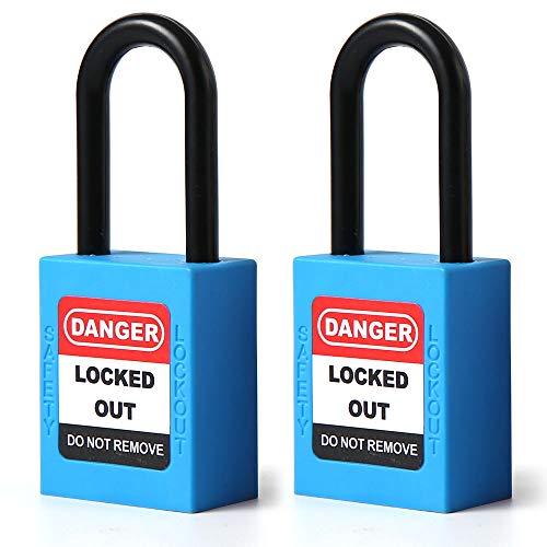 POFET 2 st 38 mm/1,5 tum låsning tagout lås, nylon shackle säkerhet hänglås, plast blå