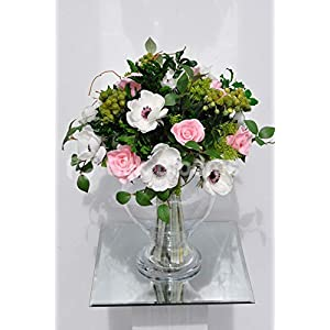Silk Blooms Ltd Artificial Pale Pink Rose and White Anemone Flower Display w/Foliage and Berries