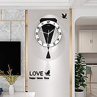静かな壁時計、モダンな装飾クォーツ壁時計バッテリー台所のオフィスの寝室、小さな壁時計、サイレント非ティックな時計のための振り子で運転されています