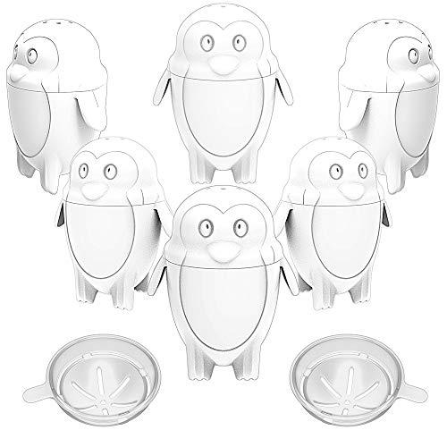 SELEWARE Eierkocher, 6 Stück Ei Kochen Eierkocher, Egg Boiler Formen Hart Weich Maker, Kein Schale, BPA-frei, niedliches Eulendesign (Weiß)