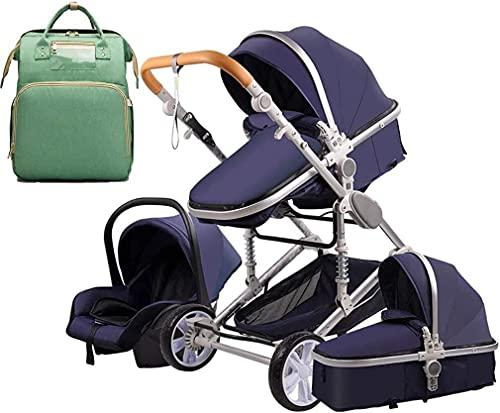 Chilequano 3 en 1 Silla de Cochecito con Canasta de Alta Capacidad, carruaje de bebé con Mochila de Bolsas de mamá, Cochecito de bebé Absorbente de Golpes, Titular de la Copa para recién Nacido