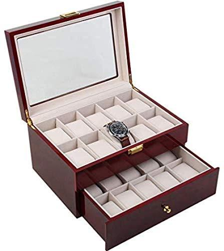 Hoge kwaliteit Watch Box Men S Valet ladekast Watch Box Large is geschikt for 20 horloges Display Stand Glass Top sieraden doos opbergdoos display van het horloge Velvet Lining, horloge Sieraden Displ