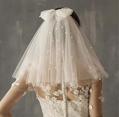 ZXF Schleier Brautschleier Kurz Tüllschleife Brautschleier Mit Kamm Günstige Elfenbein Perlen Weiße Braut Schleier Hochzeit Zubehör (Color : White)