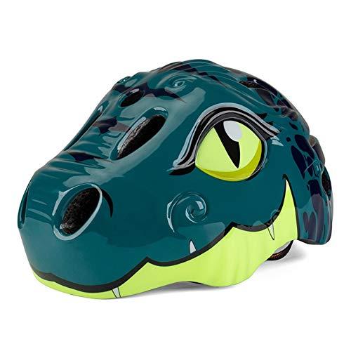 HKD Casco de Bici con luz LED para niños 3D Dinosaurios Casco de Ciclismo Ajustable Dibujos Animados Safety Casco de Bici (Color : Dark Green, Size : S)