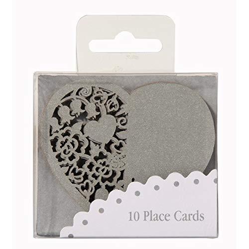 Marcasitios vaas in hartvorm, zilverkleurig, 10 stuks
