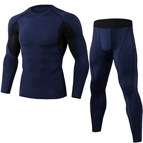 IDE Play sous-vêtements Compression Hommes Ensemble, Rapide Sport Sec T-Shirt, Gym pour Courir Faire du vélo, des Couches de Base Collants avec Haut à Manches Longues,Bleu,M