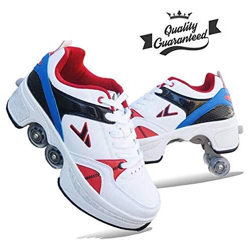 AXYQ Stylische Design-Einsteiger-Rollschuhe 2-in-1-Mehrzweckschuhe Unisex-Jungen-Mädchen-4-Rad-verstellbare Inline-Skates-Rollschuhe Outdoor-Sport-Wanderschuhe,Multi-colored-41