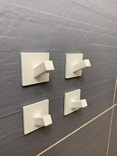 Model square Handtuchhaken 4 Stück Handtuchhalter Wandhaken Klebehaken Selbstklebend aus Edelstahl Ohne Bohren Rostfrei, Ideal für Bad Toilette Küche Büro, schwarz matt , weiß glänzend