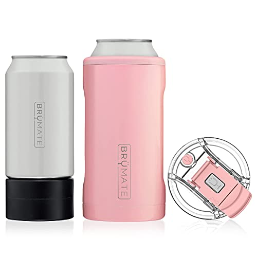 BrüMate HOPSULATOR TRíO 3-in-1 Stainless Steel Insulated Can Cooler, Works With 12 Oz, 16 Oz Cans And As A Pint Glass (Blush)