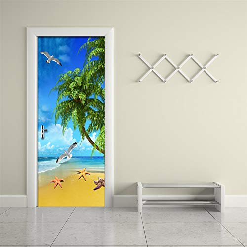 LXZHJL Pegatinas de puerta 3D Planta verde cocotero animal gaviota playa marina Papel Pintado Puerta 77 x 200 cm Papel tapiz mural autoadhesivo extraíble impermeable de PVC para decoración sala puert