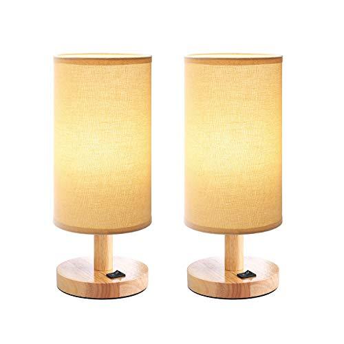 2 Nachttischlampe Holz Vintage E27 Tischlampe Retro für Hotel Kinderzimmer Schlafzimmer Landhaus, Klein Rund Kinder Schreibtischlampe mit Lampenschirm, Ohne LED Glühbirne, 2-Stück