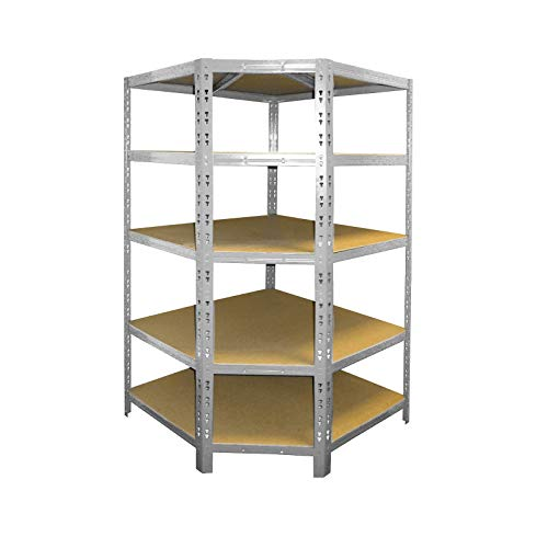 Office Marshal Garage Corner Shelving - Storage Unit | Heavy-Duty Stainless Steel Racking | 5-Tier Utility Shelves for Home or Workspace | Galvanized - 180 x 90 x 42 x 60 cm