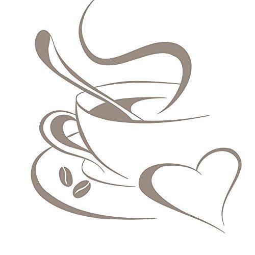 Grandora Wandtattoo Kaffetasse Herz I Taupe (BxH) 30 x 34 cm I Kaffee Tasse Bohnen selbstklebend Küche Aufkleber Wandaufkleber Wandsticker W3040