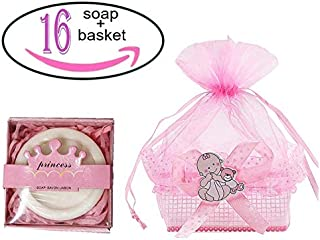 Noex Direct 16pcs Baby Shower with a Gift Mini Soap Crown Style Natural Handmade Bar Soap in Baby Shower Box Decoration Guest Favors Gifts for Baby Birthday Wedding Party (huangguan16-1)