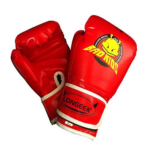 Longeek Guantes de Boxeo para niños, Guantes de Boxeo de 4 oz, Guantes de Entrenamiento de Combate de Dibujos Animados para Luchar, Kick Boxing PU Rojo