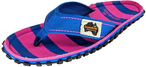 Gumbies Islander Flip-Flops für Damen, Blau - Blau und Rosa gestreift - Größe: 37 EU