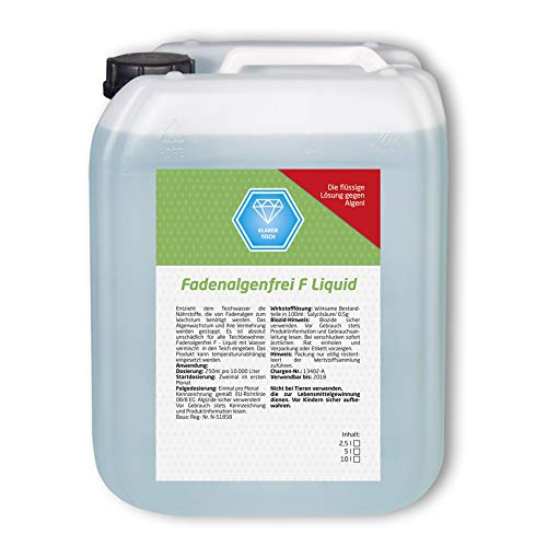 Koi Company Fadenalgenfrei F • Fadenalgenvernichter 2,5l • Ganzjähriger Algenvernichter für Teich • Phosphatfreier Fadenalgenvernichter Teich