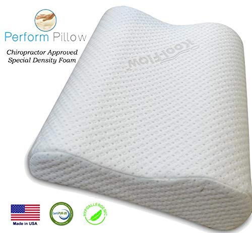 Medium Profile Memory Foam Neck Pillow - Orthopedic Contour - Chiropractor Designed and Approved - Soft Bamboo Cover - Made in USA - Great for Neck Pain, CertiPUR-US (Medium)