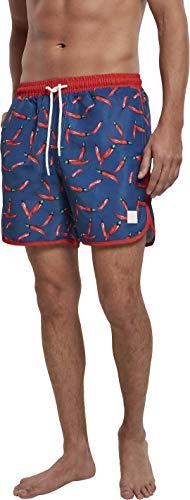 Urban Classics Pattern Retro Swim Shorts Bañador para hombre, Pepperoni Aop, M