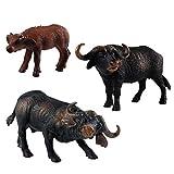 FLORMON Figuras de Animales 3 Piezas Realista Búfalo Modelo de acción El plastico Animal Salvaje Juguetes de Fiesta favores Juguetes educativos de la Granja Forestal Regalo para niños