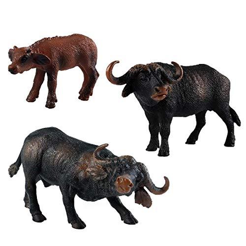 Flormoon Dierfiguren 3 stuks Realistisch Buffalo Action-model Plastic Wild Animal Leren Feestartikelen Speelgoed Educatief Bosboerderij Speelgoed Verjaardag Cupcake Topper