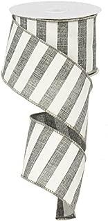 Horizontal Stripe Wired Edge Ribbon - 10 yards (Grey, 2.5