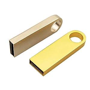 Pendrive USB metal llave 32 64 GB 128 GB llavero memoria externa impermeable PC Laptop Noteboop coche A001 dorado 64GB