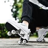 JTKDL Zapatos con Ruedas Niños Y Niña Patines 4 Ruedas Automática Calzado De...
