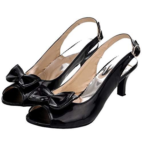 Femany Damen Kitten Heels Slingback Sandalen Peeptoe Sandaletten mit Riemchen und Schleife Lack Schuhe (Schwarz,42)