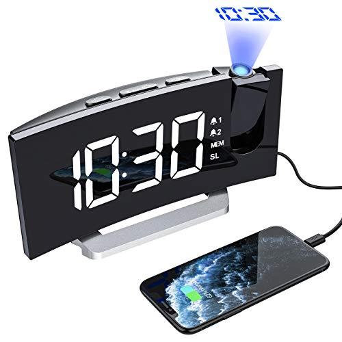 Mpow Radio Despertador Digital Proyector, FM Radio Reloj Despertadores Digitales de Proyección, Alarma Dual con 4 Sonidos 3 Tonos, Puerto USB, Pantalla LED 5'& 6 Brillos, 12/24 Hora, Snooze