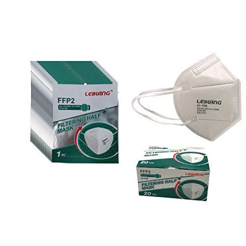 20 einzeln verpackte FFP2-Atemschutzmasken, CE, TÜV-Zertifiziert