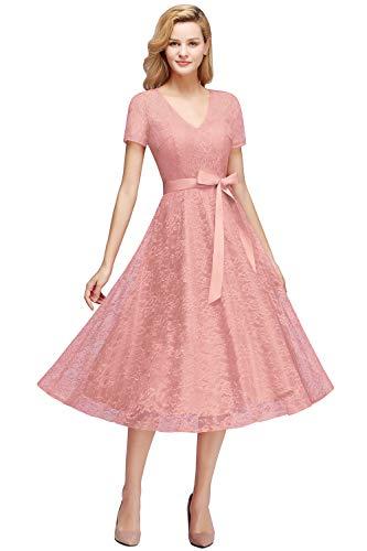 MisShow Damen Spitzen Cocktailkleider Festliches Partykleid Lace Ballkleid Abendkleid Rosa 46
