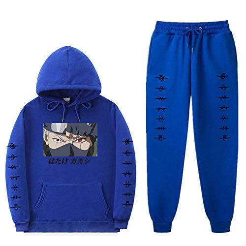 SAFTYBAY Moletom unissex Naruto com capuz e calça de moletom Hatake Kakashi terno masculino feminino anime moletom com capuz, 7 - azul, L